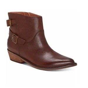 Lucky Brand Brown Caelyn Leather Ankle Cowboy Boot
